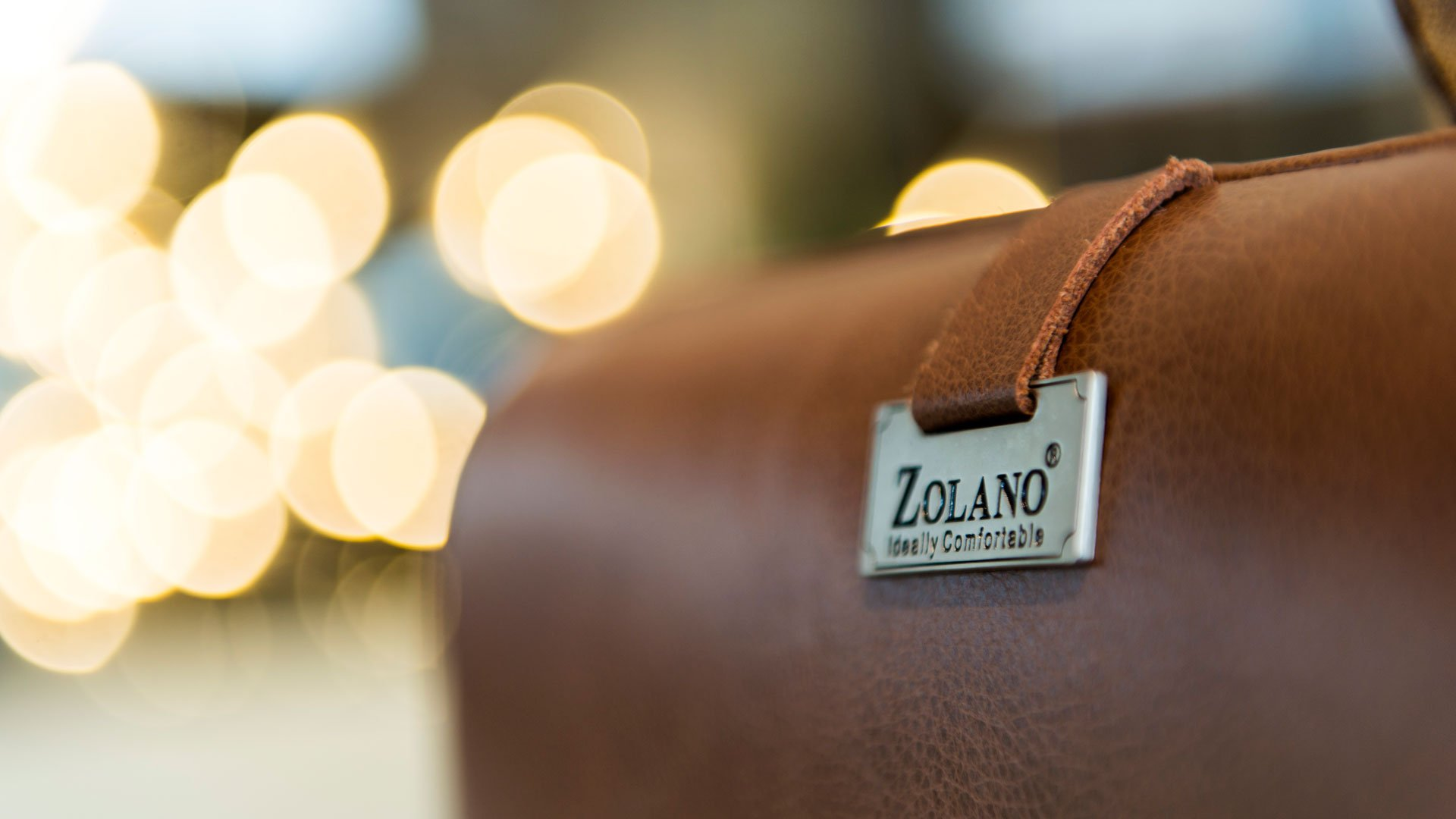 A close-up view of the high-quality Italian leather Zolano uses for the premium sofas.